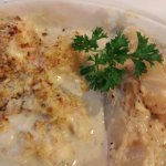 Maine Lobster Newburg with Scalloped Potatoes.