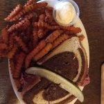 Celtic Reuben sandwich with sweet potato fries