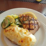 Swordfish with zucchini and twice baked potato