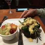 Filet Oscar-beef filet mignon topped with crab and asparagus and hollandaise. Delicious!!!!!