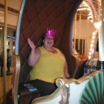 Queen Dana enjoying her ride on the carousel