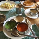 Different varieties of items from breakfast buffet. The cilantro chutney was awesome