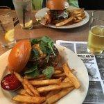 WBC Burger: beef patty, pork belly, sweet onion aioli, fried egg, spinach, white cheddar
