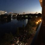 View from the balcony of Room 525 with all the firework watchers gathered.