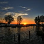 Sunset over lake Trasimeno from San Feliciano, Umbria, Italy. Photographers paradise.
