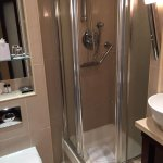 The modern bathroom with the smallest shower cubicle; you'd better be slim if you want to shower