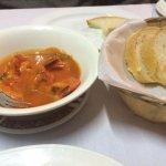 Entree of Gamberoni al pomodoro (prawns in tomato based sauce)