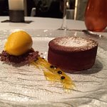 Molten Chocolate Lava cake with sorbet