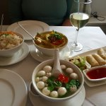 Lunch is served with Yellow Curry, Spring Rolls and Hot and Sour Mushroom soup