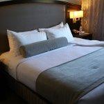very comfy bed - room width is width of headboard