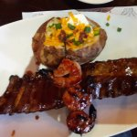 Rib & Shrimp with a loaded potato