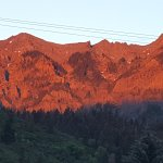 Alpine Glow at sunset! Awesome!! Vies is just north of the entrance to the hotel on Main Street.