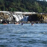 paddle boarding by the falls