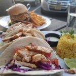 Fish tacos and burger