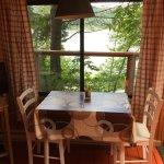 Indoor dining overlooking the serene lake