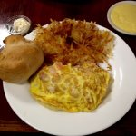 3 egg omelet with chunks of lobster and shrimp, hash browns, homemade biscuit.