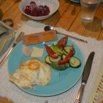Breakfast all sourced with local foods including eggs by chickens on the farm