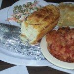 tomato pudding/pea salad/pineapple/baked potato