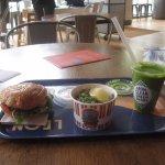"halloumi burger, pea salad and ""Clean Green"" shake"