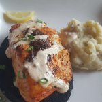 Cedar plank salmon and smashed red potatoes