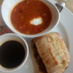 Prime rib sandwich & roasted corn soup.