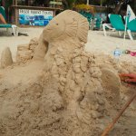 Sand Sculpture class with the kids on the beach