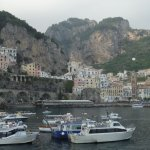 View of Amalfi from pier across the street