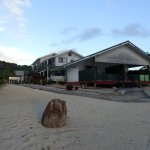 Taken from Beach at Rinos, the 2 Lagoon View Rooms at front, with office / breakfast area behind