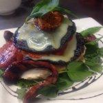 Mediterranean stack, marinated mushrooms, chorizo.