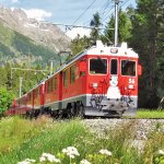 Bernina Express arriving in St. Moritz, Picture by Walter Luss, July 2016