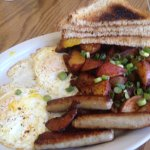 the special -- 2 eggs, sausage, hash browns, toast