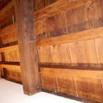Wooden rafters in apartment