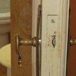 Bathroom door knob plate falling off
