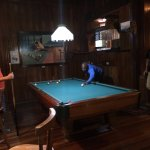 Playing pool in the bar