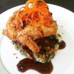 Buttermilk Fried Chicken on spinich & green onion pancake with chengdu syrup