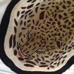 Embroidered tiger, exotic bed throw