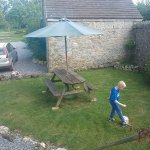 The out door eating area with swallow cottage
