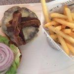 Delicious hamburger and fries.