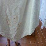 serviette déposée dans la salle de bain