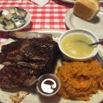 1/4 chicken, 1/4 ribs mashed sweet potatoe with honey and applesauce drink menu