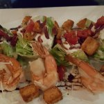 Baby Iceberg Salad with roasted grape tomatoes, pancetta & grilled shrimp.