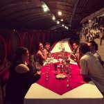 This is our friends enjoying the wine tasting in the cellar