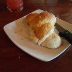Tasty bread, calamari is good.  he main disk is always  big portion.