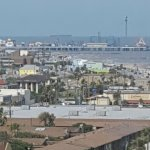 I had to zoom in but Pleasure Pier is very close to the hotel.