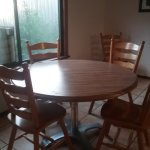 Good sized dining table, but smears and dried on food was offputting