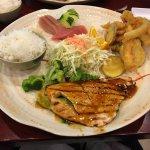 Chicken and beef teriyaki and gyoza dinner combo; salmon teriyaki, tempura and sashimi dinner co