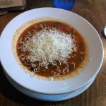 Tasty soup with parmesan