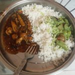 Thai green sauce curry goes well with rice