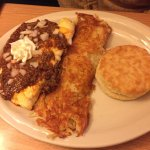 Very Good food chili omelet, ham steak, Vaquero burrito with Chorizo