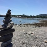 View of the land bar from the Bar Island side. Lots of these fun rock stacks on Bar Island.